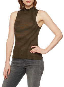 Sleeveless Mock Neck Top with Stripes - 3402069399845