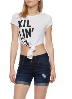 Killin It Graphic Lasercut Tie Front Top - 3402072245403