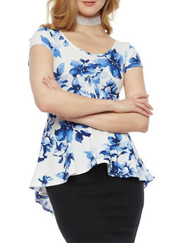 Short Sleeve Printed Peplum Top with Choker - ROYAL - 3402072245719
