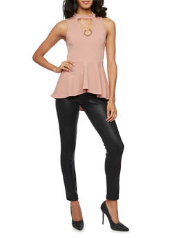 Peplum Top with Removable Necklace - 3402072245805