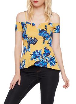 Off the Shoulder Floral Peplum Top - 3402072245806