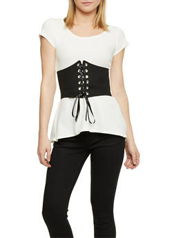 Short Sleeve Peplum Top with Front Corset - OFF WHITE - 3402072246041