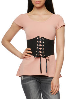 Short Sleeve Peplum Top with Front Corset - 3402072246041