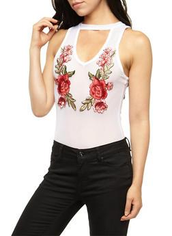Mesh Bodysuit with Floral Applique - WHITE - 3402072246116