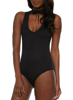 Sleeveless Lace Up Neck Thong Bodysuit - BLACK - 3402072246165