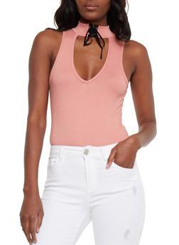 Sleeveless Lace Up Neck Thong Bodysuit - 3402072246165