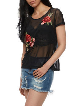 Floral Embroidered Mesh T Shirt - 3402072246231