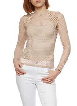 Long Sleeve Mesh Top - 3402072246334
