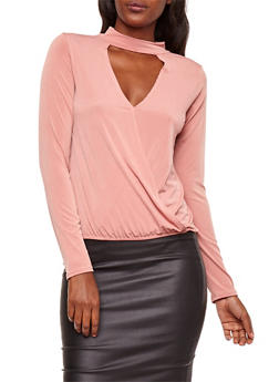 Faux Wrap Top with Elastic Hem - 3402072246382