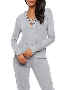 Lace Up Fleece Lined Hoodie - 3402072299634