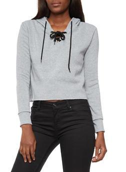 Long Sleeve Lace up Hooded Sweatshirt - HEATHER BLK - 3402072299663