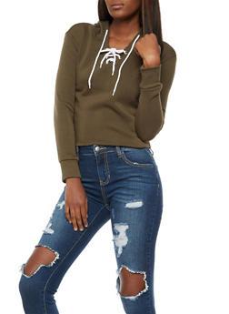 Long Sleeve Lace up Hooded Sweatshirt - 3402072299663