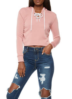 Lace up Raw Hem Cropped Sweatshirt - 3402072299663