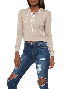 Long Sleeve Lace up Hooded Sweatshirt - TAUPE WHT - 3402072299663