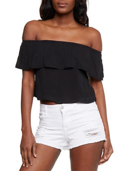 Off the Shoulder Crop Top with Ruffle Overlay - 3402073132916