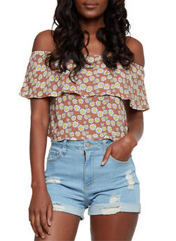 Off the Shoulder Daisy Print Top with Flounce Overlay - 3402073133916