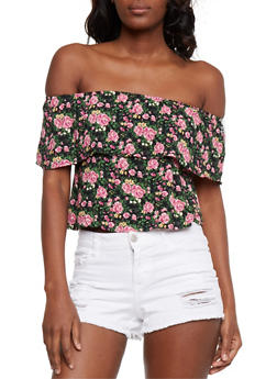 Floral Off the Shoulder Peasant Top - 3402073134916
