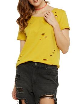 Solid Lasercut T Shirt - MUSTARD - 3402073135012
