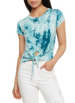Tie Front Tie Dye T Shirt - 3402073139061