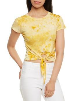 Tie Front Tie Dye T Shirt - MUSTARD #8 - 3402073139061