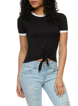 Tie Front Short Sleeve T Shirt - BLACK/WHITE - 3402073139121