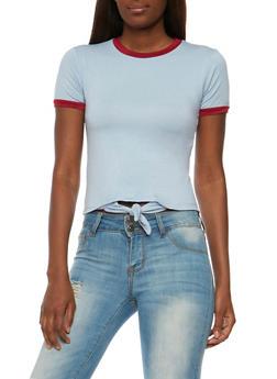 Tie Front Short Sleeve T Shirt - 3402073139121