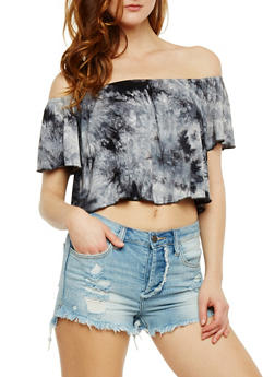 Off the Shoulder Tie Dye Crop Top - 3402073139151