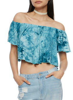 Off the Shoulder Tie Dye Crop Top - 3402073139151