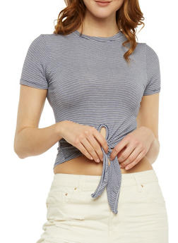 Short Sleeve Striped Tie Front Top - 3402073139201