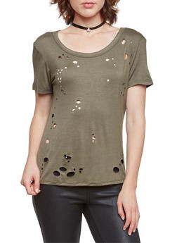 Distressed Top with Scoop Back - OLIVE - 3402073306802
