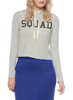 Cropped Graphic Hoodie with Squad Print - 3402073306936