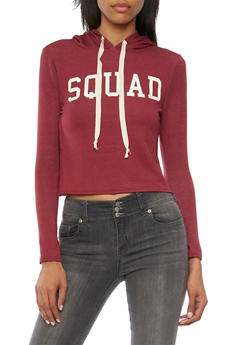 Cropped Graphic Hoodie with Squad Print - BURGUNDY OFF WHT - 3402073306936