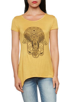 Sharkbite Hem Top with Elephant Graphic - 3402073306937