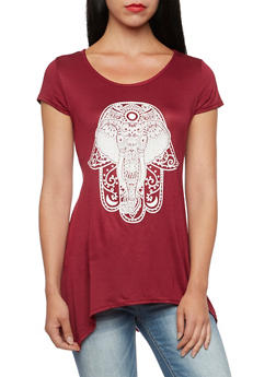 Sharkbite Hem Top with Elephant Graphic - BURGUNDY OFF WHT - 3402073306937