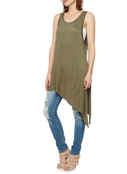 Sleeveless Tunic Top with Asymmetrical Hem and Slit - 3402073306938
