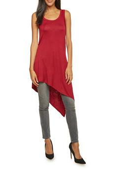 Sleeveless Tunic Top with Asymmetrical Hem and Slit - 3402073306938