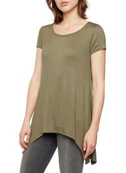Solid Jersey Top with Sharkbite Hem - 3402073307937