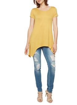 Solid Jersey Top with Sharkbite Hem - MUSTARD - 3402073307937
