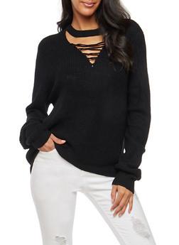 Lace Up Keyhole Knit Sweater - 3403015996590