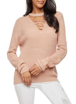 Lace Up Keyhole Knit Sweater - ROSE - 3403015996590