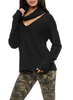 Choker Cowl Neck Knit Sweater - 3403015996790