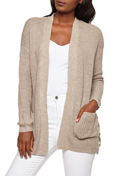 Open Front Cardigan with Lace Up Side Detail - 3403015997222