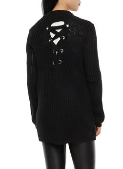Lace Up Back Long Cardigan - 3403015998581