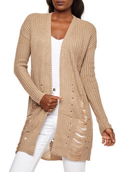 Slashed Long Sleeve Cardigan - 3403015999350