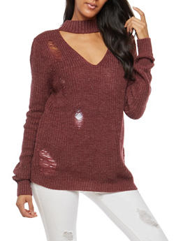 Distressed Keyhole Neck Sweater - 3403015999360