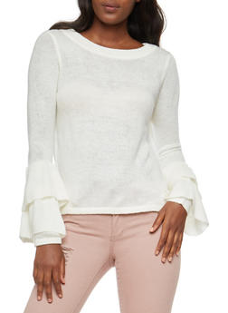Tiered Bell Sleeve Sweater - IVORY - 3403015999440