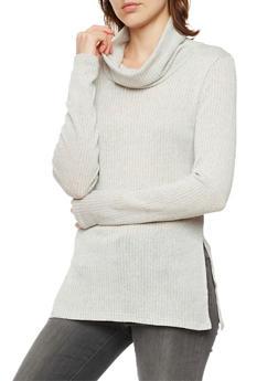 Rib Knit Cowl Neck Sweater - 3403061356299