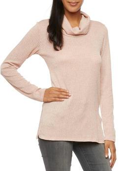 Rib Knit Cowl Neck Sweater - BLUSH - 3403061356299