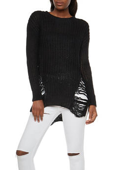 Shredded Knit Sweater - 3403062707054