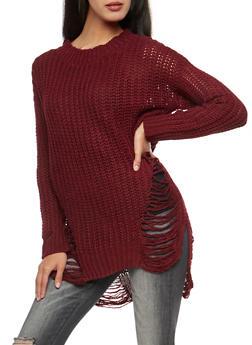 Shredded Knit Sweater - 3403062707054